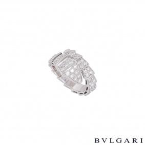 Bvlgari White Gold Diamond Serpenti Ring 347721